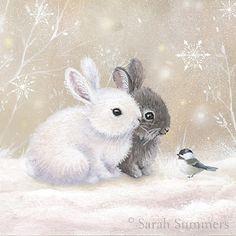 pictures of baby animals Olga Sukhova Vintage Christmas Cards, Christmas Images, Christmas Art, Christmas Bunny, Holiday Pics, Illustration Mignonne, Cute Illustration, Animals Watercolor, Watercolor Art