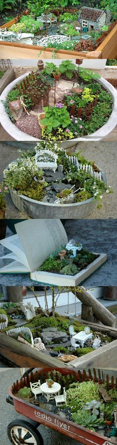 mini garden decor How cute. get kids involved. resale,auctions to find things to use in your mini garden! Mini Fairy Garden, Gnome Garden, Dream Garden, Garden Art, Garden Design, Landscape Design, Miniature Fairy Gardens, Miniature Plants, Fairy Houses