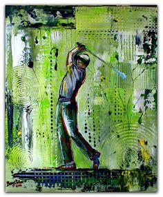 BURGSTALLER ORIGINALGolf Gemälde Bild Golfer Golfspieler Malerei Turnierpreis 70