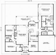 Country Style House Plans - 2151 Square Foot Home, 1 Story, 3 Bedroom and 2 3 Bath, 2 Garage Stalls by Monster House Plans - Plan 12-591