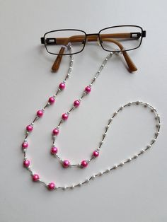 Handmade Pearl Bead Glasses Chain Neck Strap in a Beautiful Pink and White Colour - - Bead Jewellery, Jewelry Shop, Beaded Jewelry, Jewelery, Lanyard Designs, Swarovski Pendant, Beaded Lanyards, Eyeglass Holder, Crystals And Gemstones
