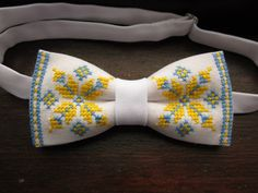 Check out our bow ties selection for the very best in unique or custom, handmade pieces from our shops. Flower Embroidery Designs, Folk Embroidery, Cross Stitch Flowers, Cross Stitch Patterns, Pokemon Cross Stitch, Palestinian Embroidery, Bow Tie Wedding, Crochet Cardigan, Baby Sewing