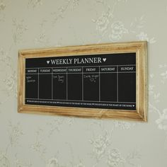 Wooden frame days of the week chalkboard planner shabby country chic kitchen