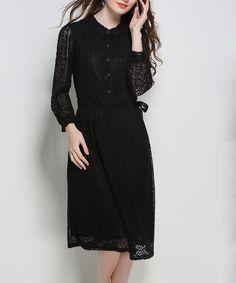 Black Lace Button-Front Midi Dress - Plus Too