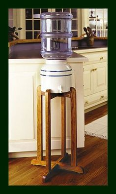 Porcelain Water Dispenser Blue Stripe With Wooden Stand  Coldkeepers,http://www.