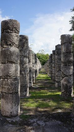 Actually Terminal to Post-Classic, circa 950-1100 AD. Columns at Chichen Itza,Yucatan, Mexico.