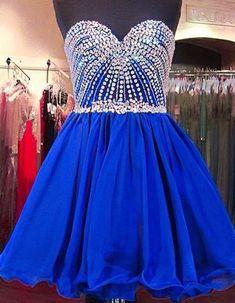 Tee dress Pretty Homecoming Dress,Chiffon Homecoming Dress,Beading Graduation Dress, Sweetheart Short Prom Dress