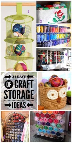 Welcome to day ten of the 31 Days of Craft Storage Ideas. Today we are talking about Yarn. You can make something yourself or re-purpose something you already own for your yarn storage.  I'm sure you'll find some creative ideas for storing your craft supplies here.