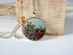 Floral, meadow necklace, pendant, Embroidered jewelry, silwer tone, needlework, romantic, poppies on the meadow, embroidery, hand-painted.