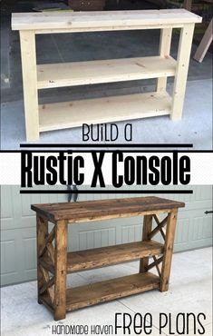 Plans of Woodworking Diy Projects - Build this easy fun DIY Rustic X Console - Free Step by Step Woodworking Plans on How to Build this Console Get A Lifetime Of Project Ideas & Inspiration!