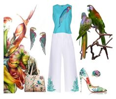 """Parrot Bay"" by angiemine213 ❤ liked on Polyvore featuring Mara Hoffman, Lacoste, Fred Leighton, Christian Louboutin, Elizabeth Cole and EAST"