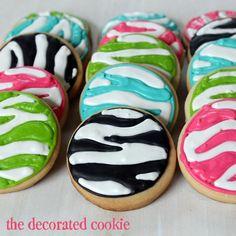zebra print cookies by www.thedecoratedcookie.com
