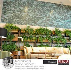 Mostra Saccaro 2017 - Vitrine Saccaro, ambiente do escritório MeyerCortez parceiro Lepri Finas Cerâmicas Rústicas, utililizando Brick Anticatto Verde Palma e Brick Contemporâneo Snow.