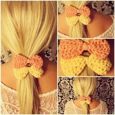CROCHET Set of 2 Bow Hair Tie Elastic in CORAL and Pastel YELLOW. 8.00, via Etsy.