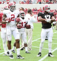 Henry #2 on the left and Kenyan Drake #17 on the right before spring game, 2015