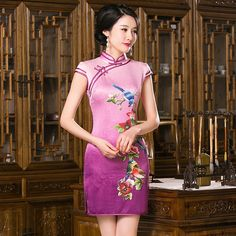 Summer style  Flowers and birds Cheongsam Top quality chi-pao Mini Evening Dress Party Dress vestidos Tang suit Size:S-3XL