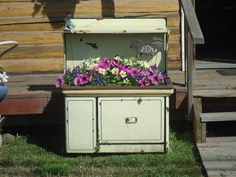 Old stove as planter