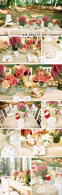 Auch die Tischdeko fürs Heiraten im Grünen orientiert sich an der Natur und den Hochzeitsfarben. Auf einem rustikalen Holztisch wurde neben den im Brautstrauß verwendeten Blumen noch mit heimischem Heidekraut dekoriert. Ein gold-glitzernder Hirsch und ausgefallenes Vintage Geschirr geben der natürlichen Tischdeko eine imposante Note. I © Chris Eberhardt Photography