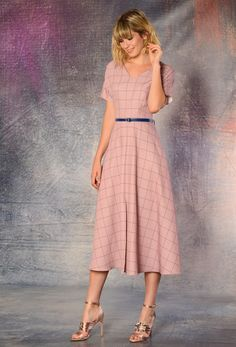 Vestido midi mujer cosmopolita midi dress, autum dress, pink dress