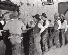 """COWBOYS of the old LS ranch - """"settling the dust"""" . drinking at the Equity Bar in Old Tascosa, Tascosa was called the cowboy capital of the Texas Panhandle and the hardest Native American Women, Native American History, American Art, American Quotes, American Indians, Old West Saloon, Old West Photos, Longhorn Cattle, Campfire Stories"""