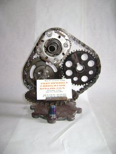 Custom hot rod business card holder made from repurposed engine and recycled car part business card holder reheart Image collections