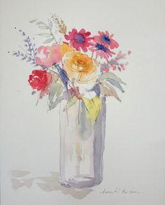 Original Water Colour Painting Roses And Gerbera Signed Annabel Burton