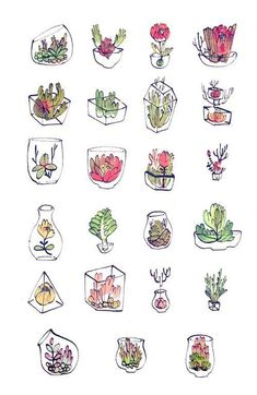 Calm 01 (Sampler) How to draw beautiful glass terrariums. Great doodles and sketches for your bullet journal and planner.How to draw beautiful glass terrariums. Great doodles and sketches for your bullet journal and planner. Doodle Drawings, Cute Drawings, Doodle Art, Drawing Sketches, Drawing Art, Drawing Ideas, Sketch Ideas, Sketch Inspiration, Doodle Sketch