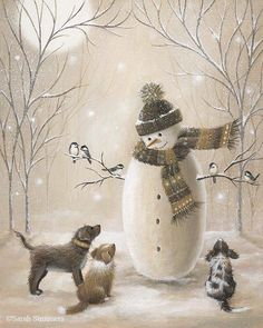 2016/12/09 Snowman and Puppies