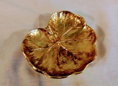 Virginia Metalcrafters Lacquered Brass Geranium Leaf by StoneArborTreasures on Etsy