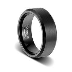 Silver Beveled Edges 8MM Unique High Polish Details about  /Black Tungsten Wedding Band