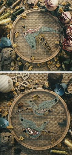 Embroidery Stitches Ideas Bird embroidery on tulle // bird art // hoop art - Katerina Marchenko stitches on tulle for a fantastic effect. Her fish embroidery make the colorful stitches look like they're in a fishbowl. Embroidery Designs, Iron On Embroidery, Embroidery Transfers, Embroidery Hoop Art, Cross Stitch Embroidery, Machine Embroidery, Learn Embroidery, Bordados E Cia, Diy Upcycling