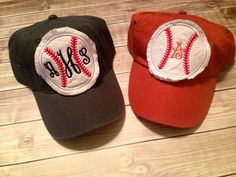 Monogrammed Raggy Patch Baseball Hat by ahSEWcute on Etsy