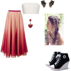 A fashion look from October 2015 featuring Katie Ermilio tops, RED Valentino skirts and Nak Armstrong earrings. Browse and shop related looks.