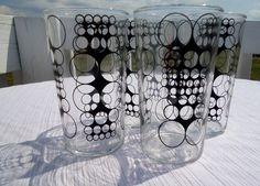 Mid Century Mod Black Enamel Circle Drinking Glasses Set of 4 on Etsy, $40.00