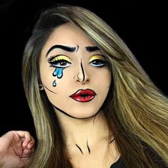 Find out how to do this pop art halloween makeup look! You can also find more easy and Simple Halloween Makeup Ideas on Cosmetify now! Halloween Cartoons, Halloween Costumes, Halloween Fun, Halloween Tutorial, Vintage Halloween, Pop Art Makeup, Makeup Ideas, Beauty Makeup, Beauty Art