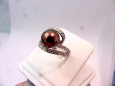 Gorgeous! -- 11mm Cultured Pearl white gold diamond ring 51 by mastergoldcraft, $975.00