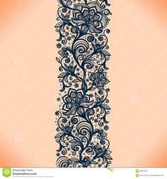 Abstract Lace Ribbon Seamless Pattern With Elements Flowers. - Download From Over 43 Million High Quality Stock Photos, Images, Vectors. Sign up for FREE today. Image: 58673097