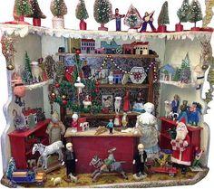 Antique German Miniature Christmas Toy Shop.