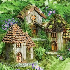 Fairy House works of art crafted from natural materials create a magical display. gardeners.com