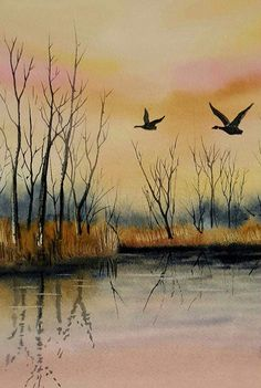 John DeWald - watercolor of Geese heading out. 8x10