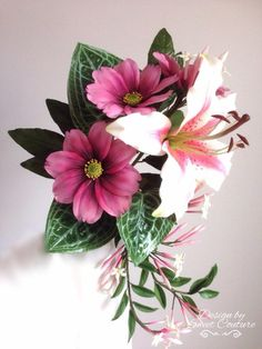 A bouquet of sugar flowers. - Cake by Sweet Couture