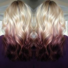 Reverse ombre with maroon - would love the bottom part strawbery blonde!