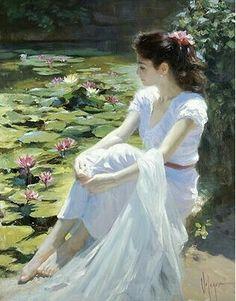 """Water Lilies"" by Artist Vladimir Volegov. Woman Painting, Figure Painting, Lily Painting, Painting Art, Vladimir Volegov, Images Esthétiques, Art Abstrait, Fine Art, Beauty Art"
