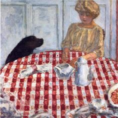 Pierre Bonnard did several paintings with classic red-checkered tablecloths in them