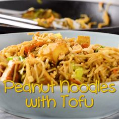 This delicious Peanut Noodles with Tofu recipe tastes so amazing with just simple ingredients and it even tastes better than any take out! Prepare this easy Asian noodle for your friends and family, eat right away or serve as a cold noodle salad. Asian Tofu Recipes, Asian Noodle Recipes, Vegetarian Recipes, Cooking Recipes, Healthy Recipes, Simple Tofu Recipes, Vegetarian Ramen, Tofu Noodles, Peanut Noodles