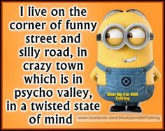 I live in the corner of funny quotes quote crazy funny quote funny quotes humor minions minion quotes. funny, that's where I worked. Funny Minion Memes, Minions Quotes, Funny Jokes, Minion Humor, Minion Sayings, Minion Pictures, Funny Pictures, Funny Pics, Videos Funny