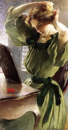 ✿Woman✿ Young Woman Arranging Her Hair by John White Alexander (1856 - 1915)