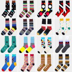 $1.66   Men-Colored-Striped-Cotton-Socks-Art-Jacquard-Hit-Color-Long-Dot-Happy-Socks