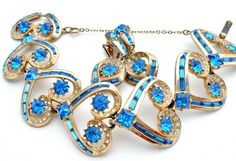 Signed Ora High End Blue Clear Rhinestone Demi Set Bracelet Earrings Vintage