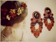 Pumpkin Margarete and soutache earrings #macrame # macramè # simona # rotaris